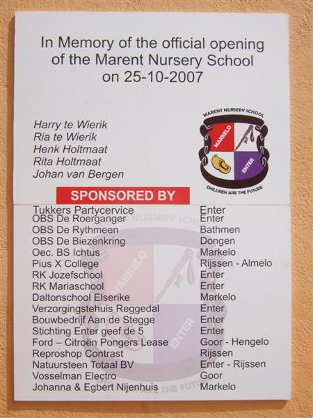 sponsoren stichting marent nursery school